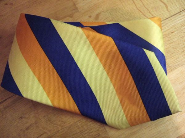 ETRO Milano 100% Silk Striped Orange Yellow Navy Tie